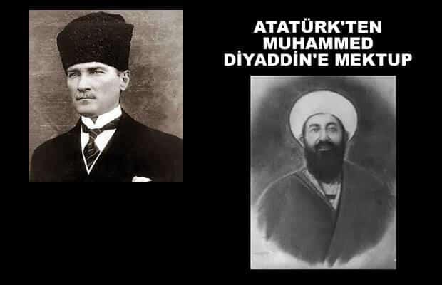 Atatürk´ün Şeyh Muhammed Diyaddin Hazretlerine gönderdiği Teşekkür Mektubu